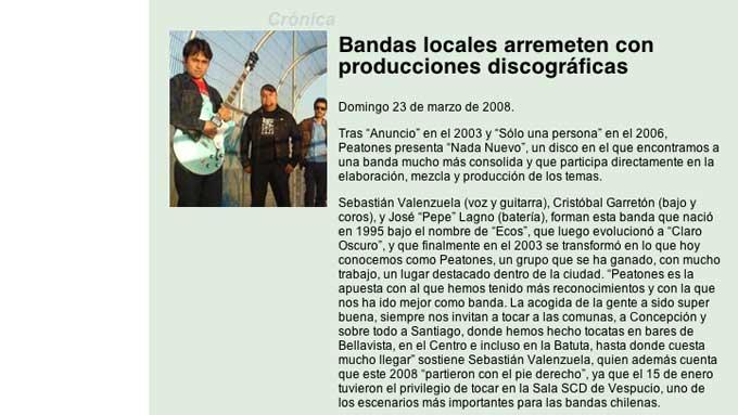 Lanzamiento de singles de su nuevo trabajo, PEATONES El Living Centro de Arte Alameda, Santiago - Chile